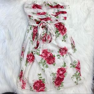 Delias Red & White Floral Strapless Ruffle Dress